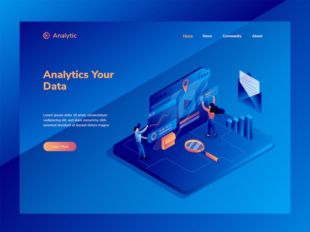 Grafici e analisi statistica illustrazione isometrica Vettore Premium