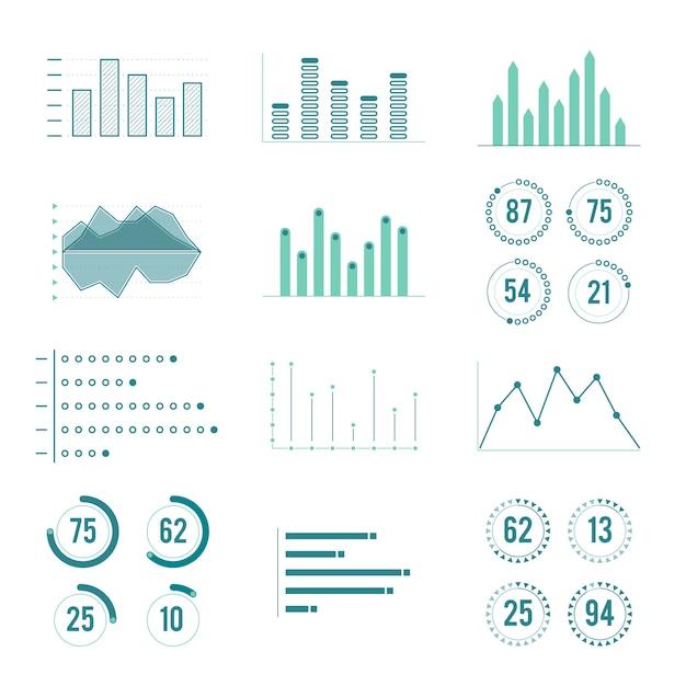 Grafici lineari, grafici e barra di avanzamento Vettore Premium