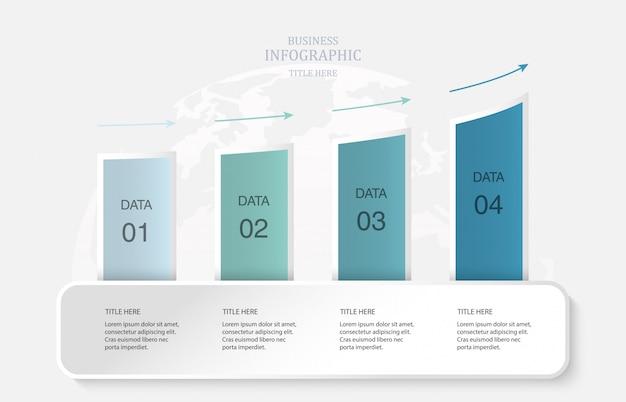 Grafico a barre con 4 passaggi infografica. Vettore Premium