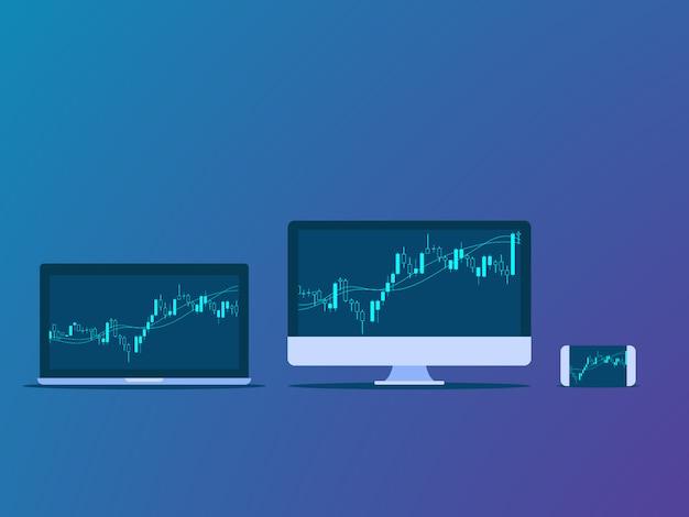 Grafico a candela sul monitor del dispositivo digitale. Vettore Premium