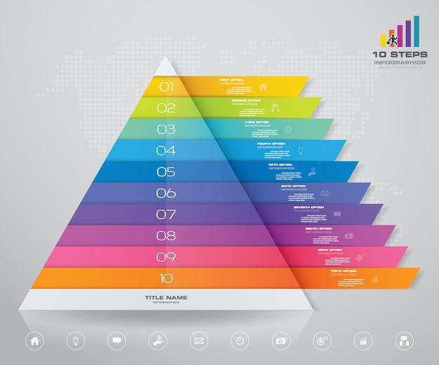 Grafico a piramide con spazio libero per il testo su ciascun livello. Vettore Premium