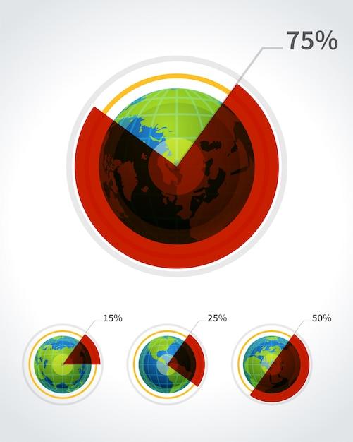 Grafico a torta rotondo e design di infographics di fo rbusiness insieme dell'illustrazione di vettore del globo Vettore Premium