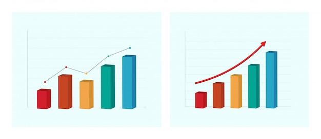 Grafico aziendale e grafico. presentazione Vettore Premium