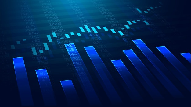 Grafico commerciale del mercato azionario o dei forex nel concetto grafico Vettore Premium