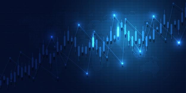 Grafico del grafico del bastone della candela di affari Vettore Premium