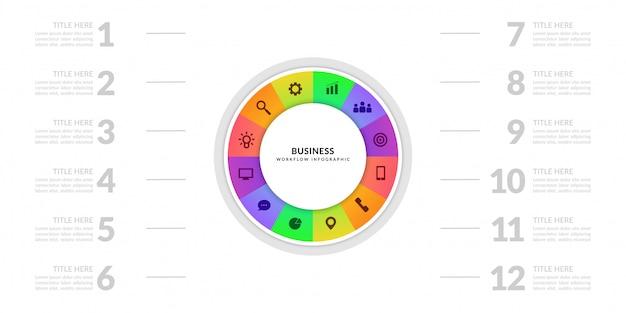Grafico del grafico di processo aziendale con segmento a più fasi, elementi infographic di ciclo colorato Vettore Premium
