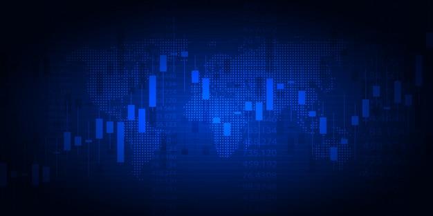 Grafico del mercato azionario o grafico di trading forex per concetti aziendali e finanziari Vettore Premium