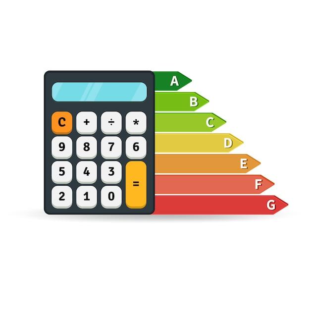 Grafico del tasso di rendimento energetico con calcolatrice Vettore Premium
