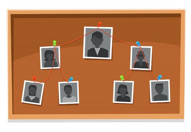 Grafico della struttura della squadra. il consiglio di amministrazione dei membri dell'azienda, le foto del gruppo di lavoro appuntate e i grafici dell'albero organizzativo ricercano l'illustrazione Vettore Premium