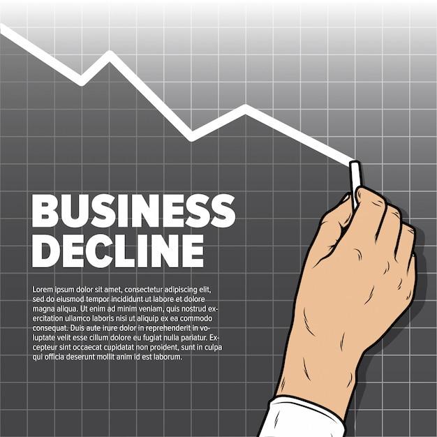 Grafico di diminuzione del disegno della mano di businessmans. declino del profitto e attività di vendita al ribasso Vettore Premium