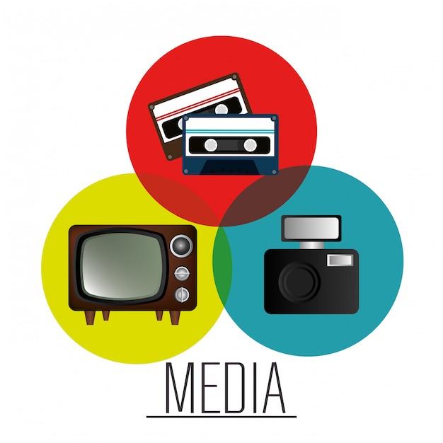 Grafico di notizie di mass media Vettore gratuito