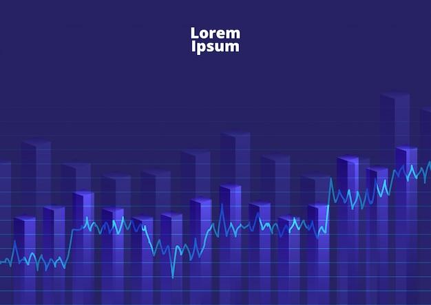 Grafico finanziario del fondo con le azione del grafico lineare Vettore Premium