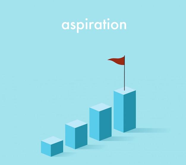 Grafico in aumento di crescita 3d nel tono blu-chiaro con la bandiera rossa Vettore Premium