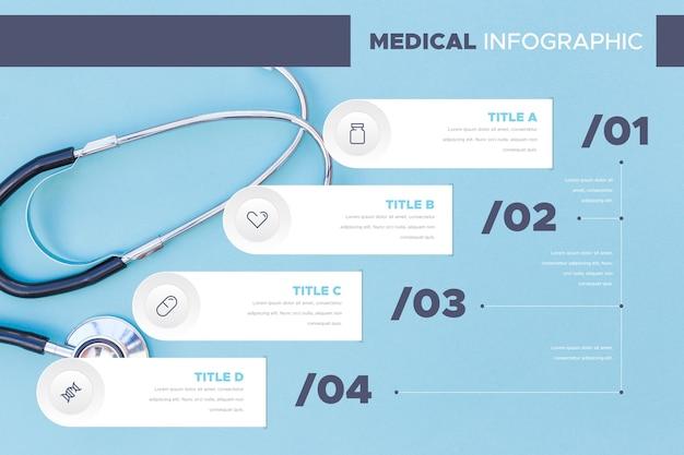 Grafico infografica stetoscopio medico Vettore gratuito