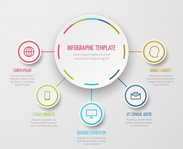 Grafico rotondo infografica con passi progresso modello di vettore per report aziendali e presentazione analitica Vettore Premium