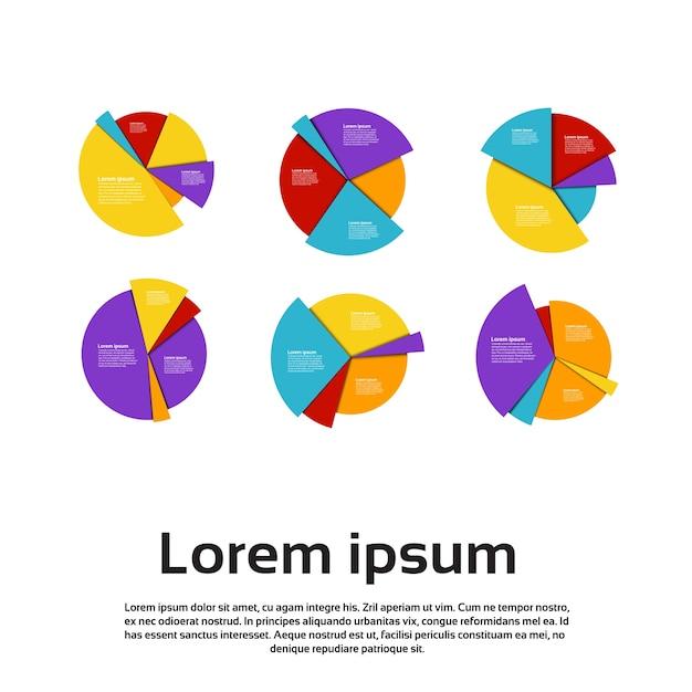 Grafico set finance pie diagram infographic Vettore Premium