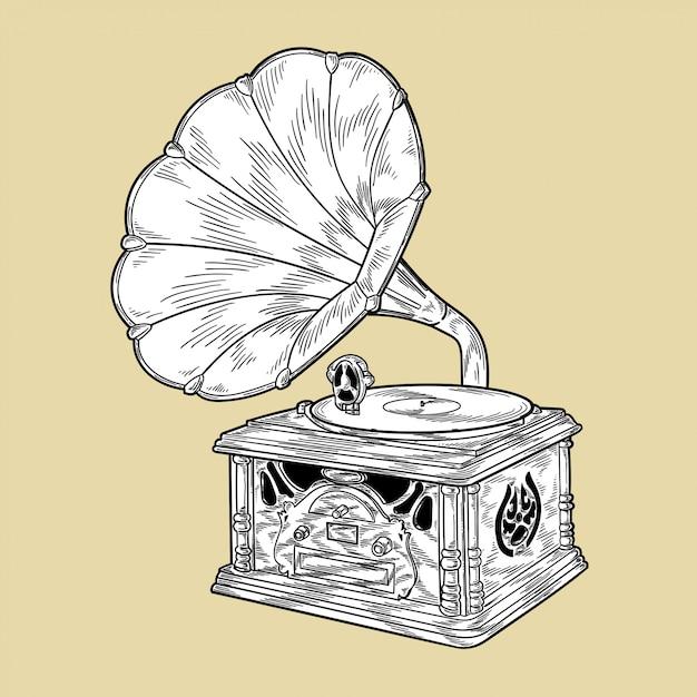 Grammofono, monocromatico, illustrazione, vettore Vettore Premium