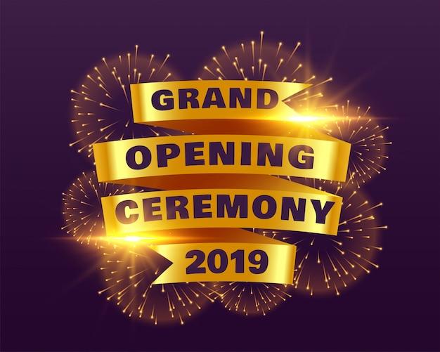 Gran cerimonia inaugurale 2019 con nastro dorato e fuochi d'artificio Vettore gratuito