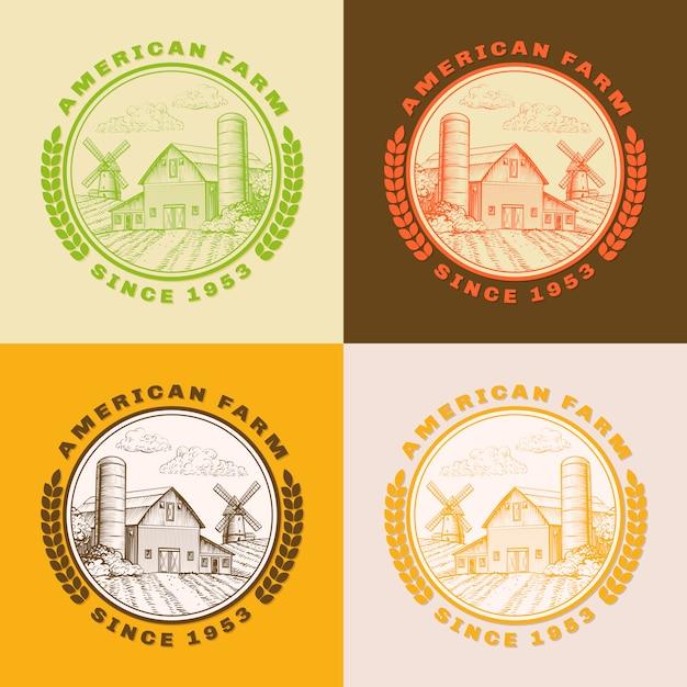 Granaio americano dell'azienda agricola per l'agricoltura con il mulino a vento, insieme di logo Vettore gratuito