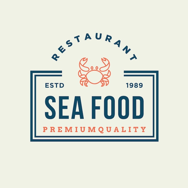 Granchio di frutti di mare per la progettazione del logo della linea ristorante Vettore Premium