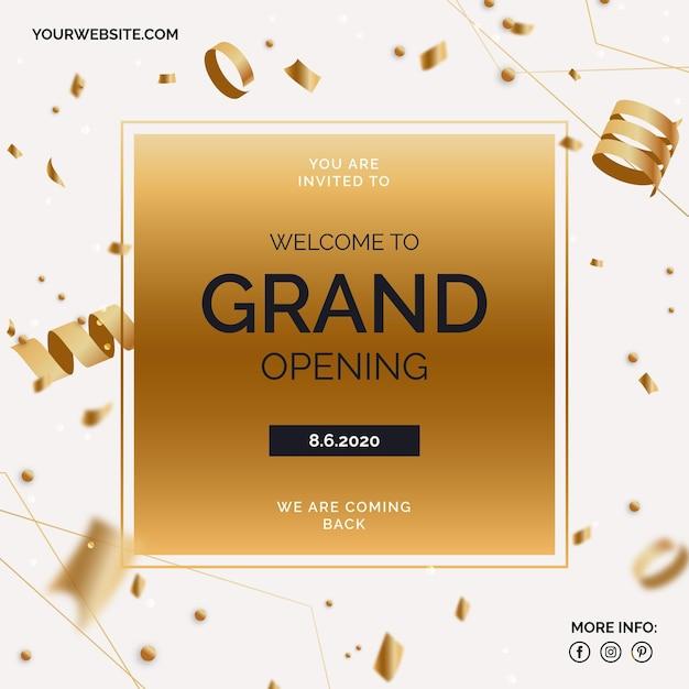Grand banner di riapertura con coriandoli dorati Vettore gratuito