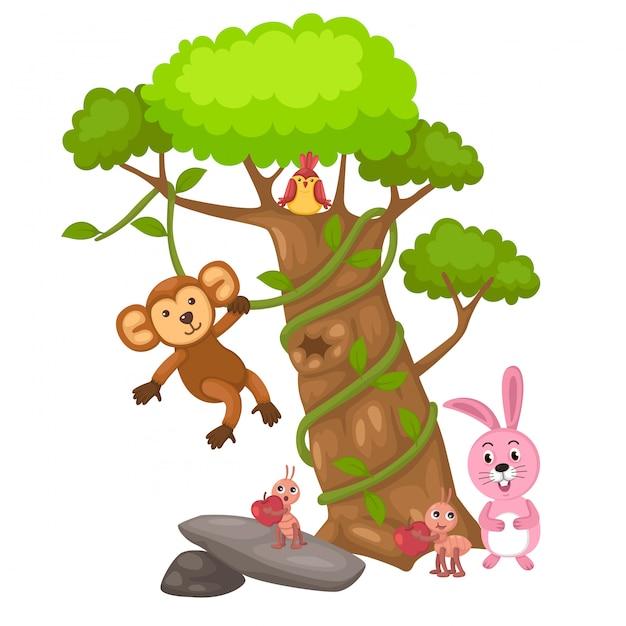 Grande albero e scimmia e uccello e coniglio e vettore formica Vettore Premium