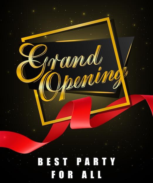 Grande apertura, miglior festa per tutti i poster festosi con cornice dorata e nastro rosso ondulato Vettore gratuito