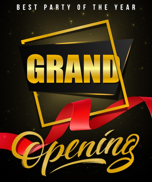 Grande apertura, poster festa festivo dell'anno con cornice dorata e nastro rosso ondulato Vettore gratuito