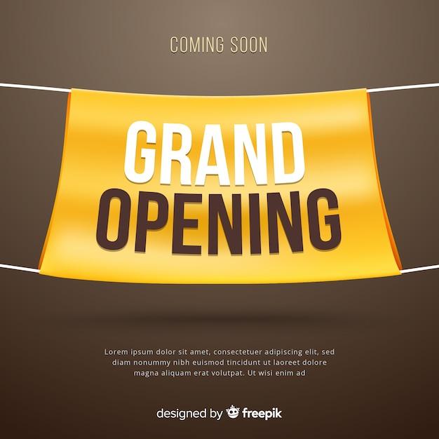 Grande apertura realistica con banner in tessuto Vettore gratuito