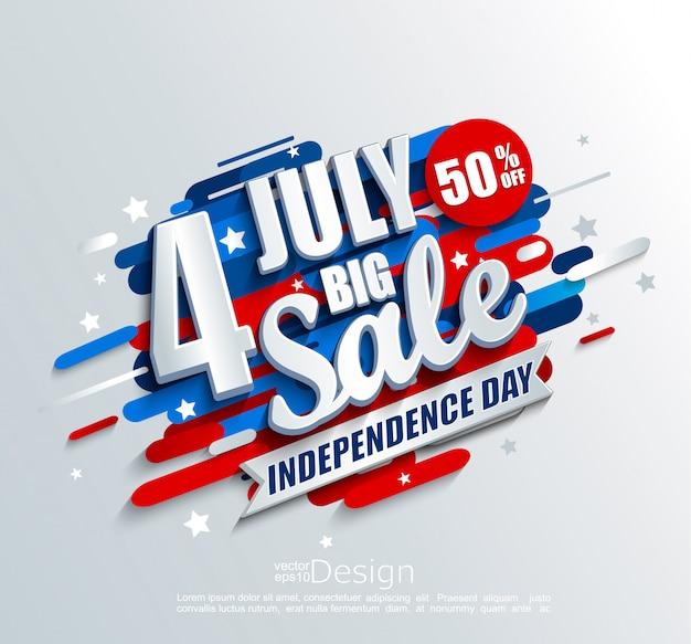 Grande bandiera di vendita per independence day 4 luglio negli stati uniti Vettore Premium
