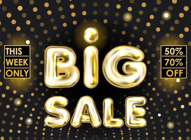 Grande bandiera nera di vendita con lettere palloncino stagnola dorata Vettore Premium