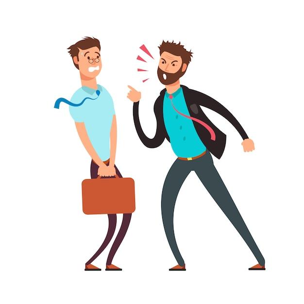 Grande capo arrabbiato urlando sul dipendente. concetto di vettore di affari dei cartoni animati Vettore Premium