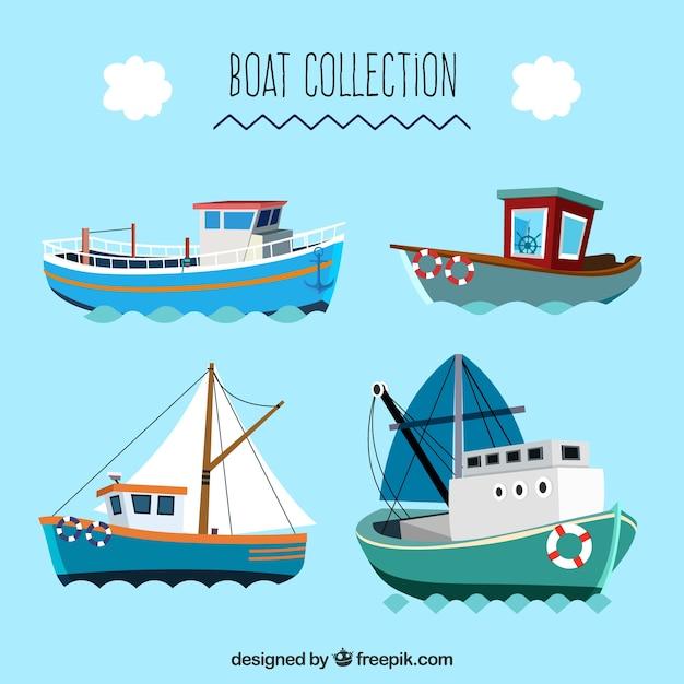Grande collezione di barche piatte Vettore gratuito