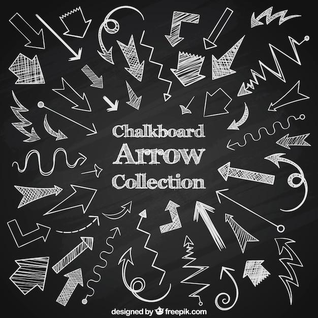 Grande collezione di frecce disegnato con il gesso Vettore gratuito