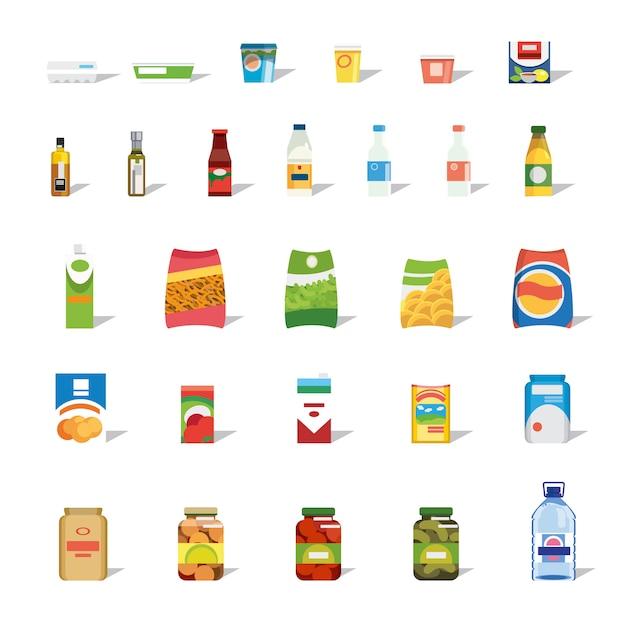 Grande collezione di icone di vettore piatto di cibo e bevande Vettore Premium