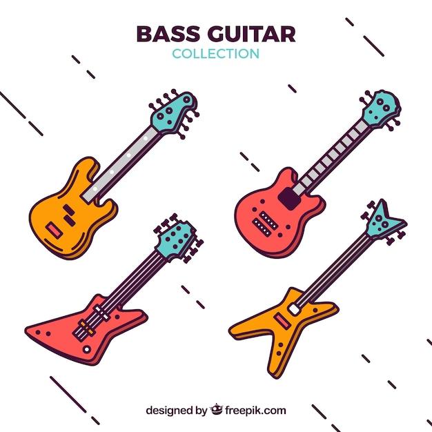Grande collezione di quattro chitarre basse Vettore gratuito