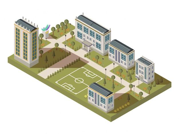 Grande composizione isometrica dell'università con le case dei vicoli dell'iarda del campus con le ombre e il playgro di calcio Vettore gratuito