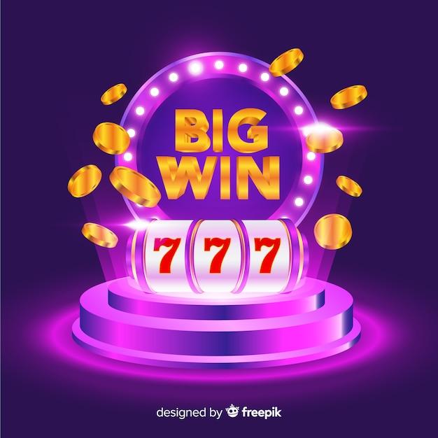Grande concetto di slot vincente in stile realistico Vettore gratuito