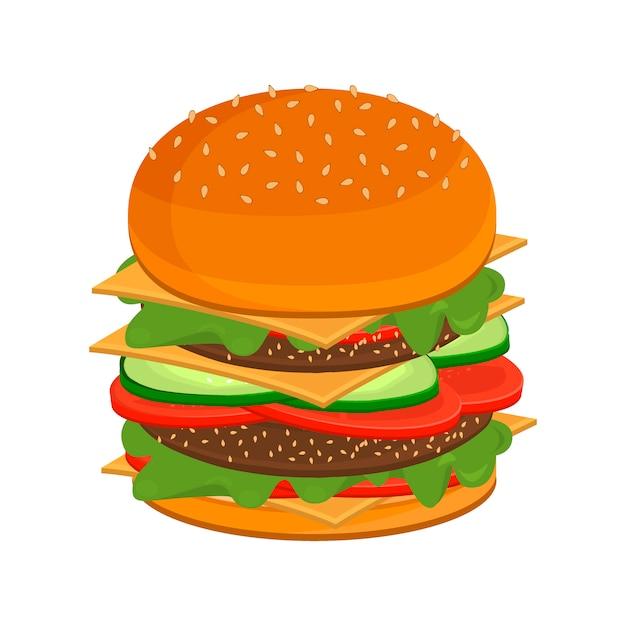 Grande cucina fast food hamburger veloce. Vettore Premium