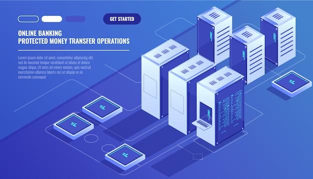 Grande data center moderno, sala server, servizio di archiviazione dati su cloud Vettore gratuito