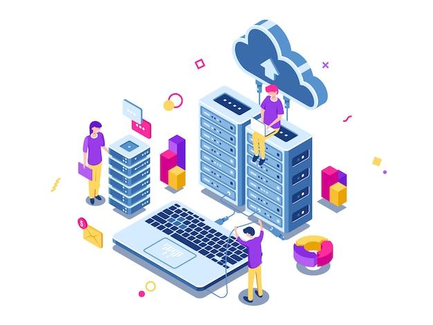 Grande data center, rack per sala server, processo di progettazione, lavoro di squadra, tecnologia informatica, archiviazione cloud Vettore gratuito