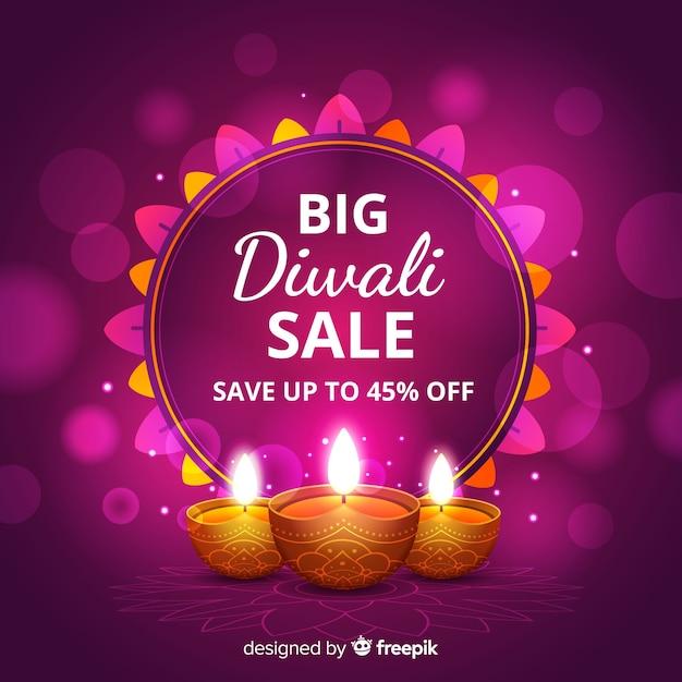 Grande disegno realistico di vendita di diwali Vettore gratuito