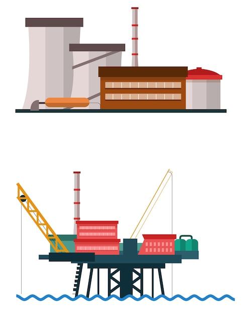 Grande edificio industriale e industriale Vettore Premium