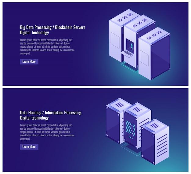 Grande elaborazione dati, sala server, hosting, blockchian, trasmissione dati, computer Vettore gratuito
