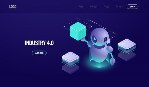 Grande elaborazione dei dati, industria 4.0, processo di automatizzazione, intelligenza artificiale ai Vettore gratuito