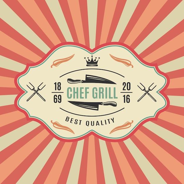Grande etichetta per barbecue retrò con ottima qualità della griglia principale Vettore gratuito