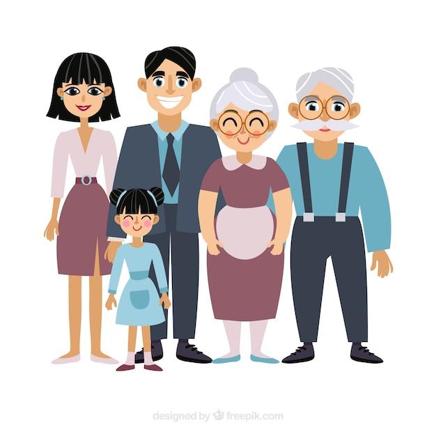 Grande famiglia felice con design piatto Vettore gratuito