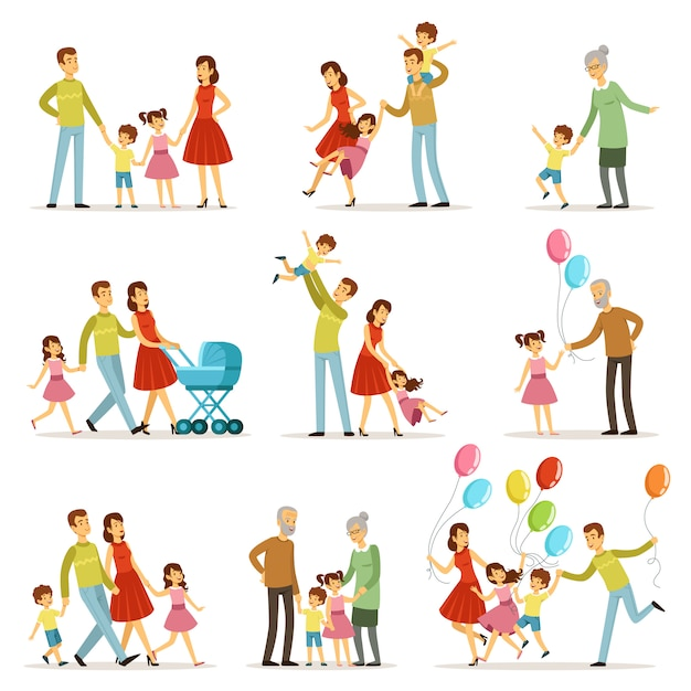 Grande famiglia felice con madre, padre, nonna e nonno. Vettore Premium