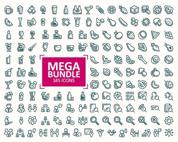 Grande fascio, insieme di illustrazioni vettoriali icone di linea fine. 32x32 pixel perfetti Vettore gratuito