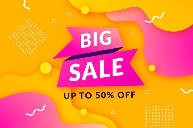 Grande fondo di vendita con il modello dorato e rosa di memphis Vettore gratuito